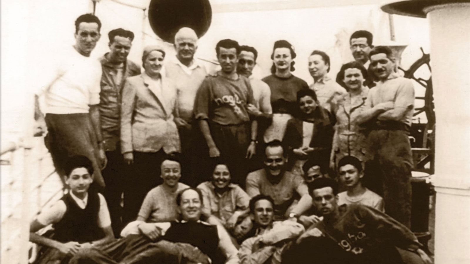 European Jewish refugees aboard the ship that took them to Ecuador.